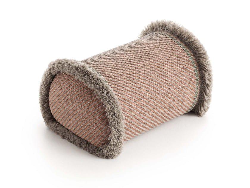 Striped roll outdoor polypropylene cushion GARDEN LAYERS TERRACOTTA   Roll cushion by GAN