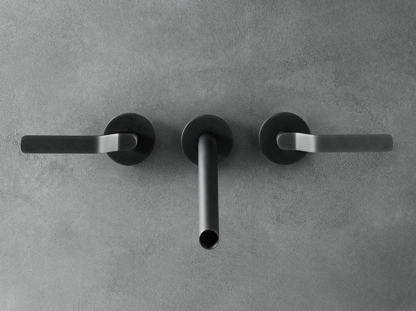 3 hole wall-mounted stainless steel washbasin tap GARDEN | Wall-mounted washbasin tap by Boffi