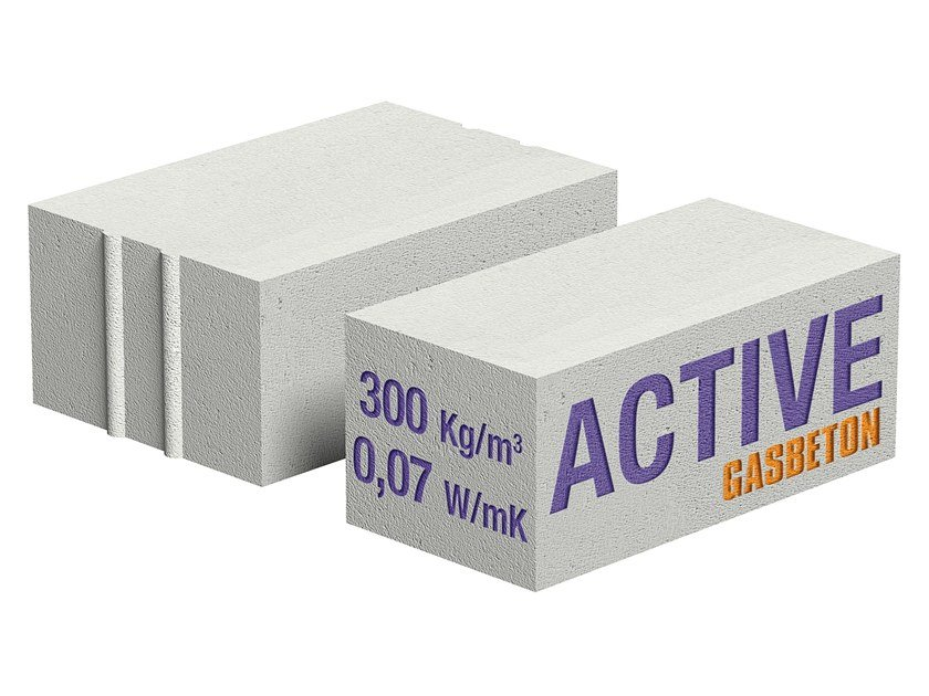 Lightweight concrete block for external wall GASBETON® ACTIVE by Bacchi