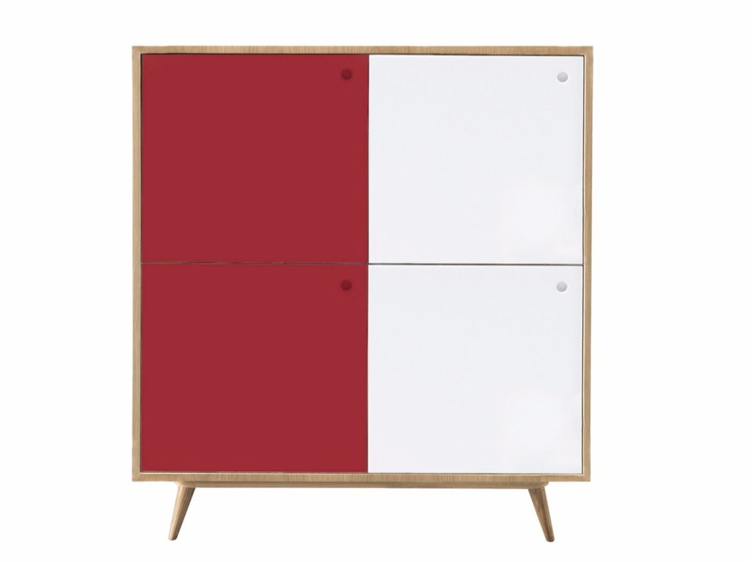 Lacquered wooden sideboard with doors GASTON by AZEA