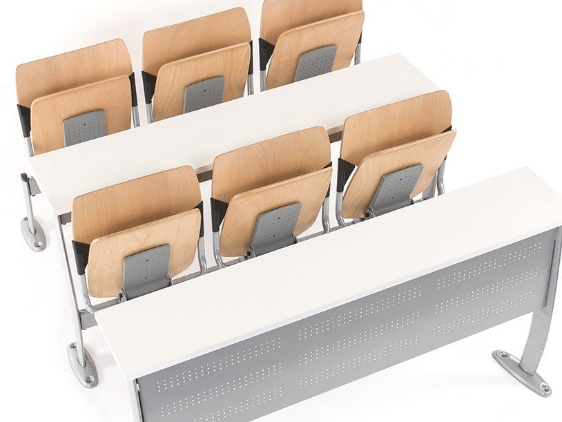Modular bench desk with integrated chairs GATE MONOBLOCK by Mara