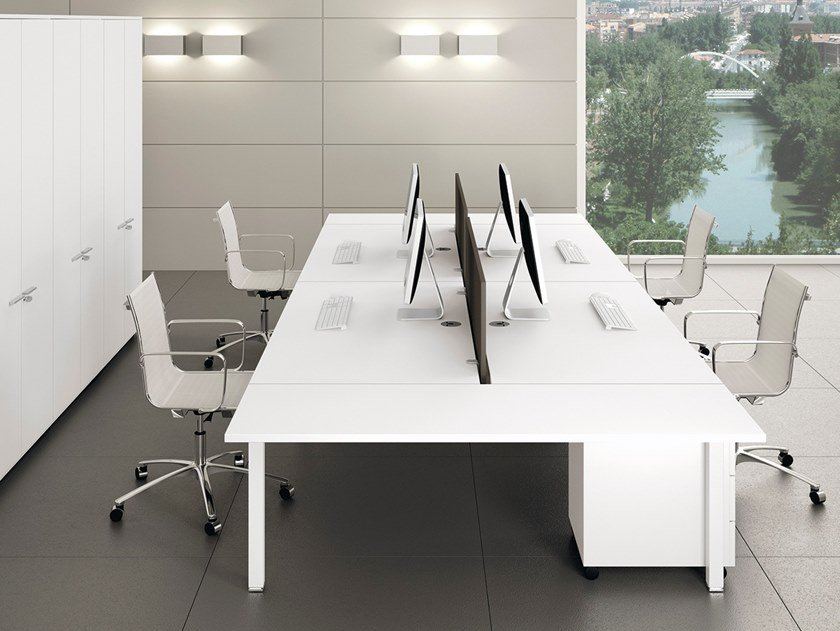 Multiple office workstation with cable management GATE | Multiple office workstation by Bralco
