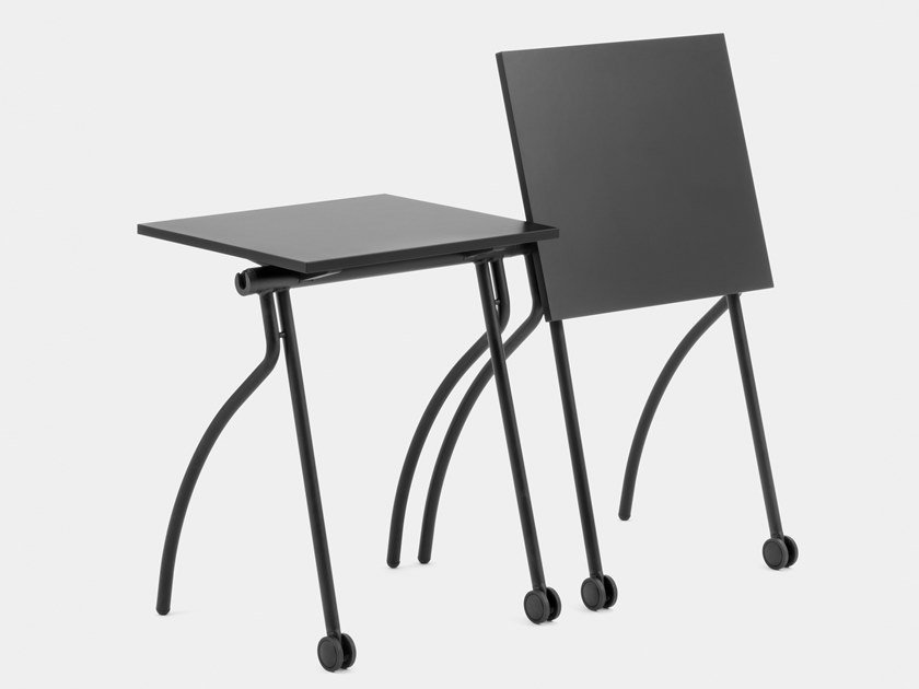 Stackable folding laminate bench desk with castors GATE TRAINING by Mara