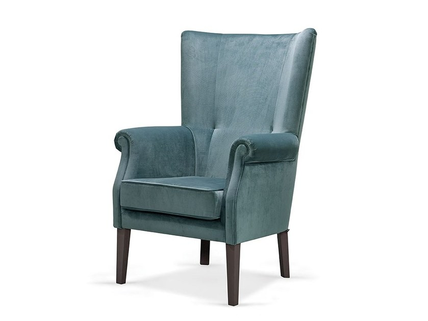 Upholstered high-back armchair GAUDI by Fenabel