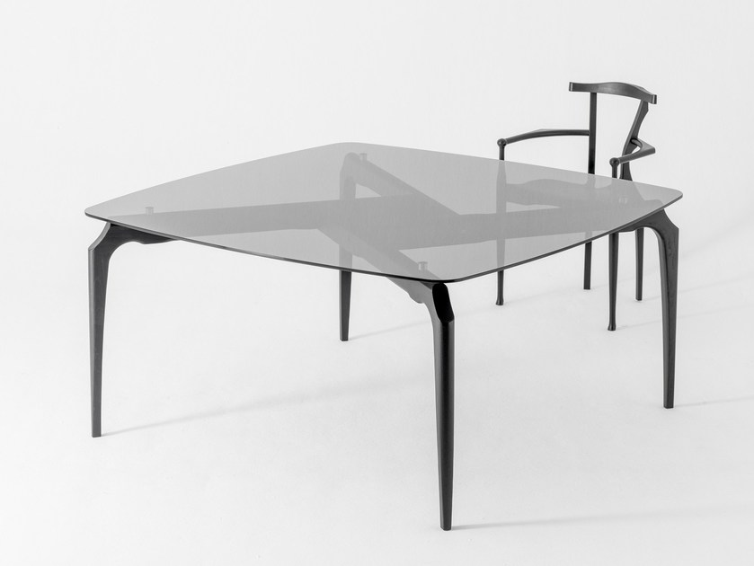 Square glass dining table GAULINO   Square table by BD Barcelona Design