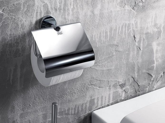 Metal toilet roll holder GEALUNA | Toilet roll holder with cover by INDA®