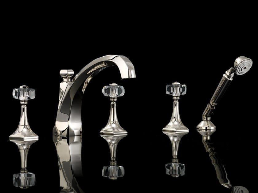 5 hole bathtub set with hand shower GEMSTONE | Deck mounted 5 hole bathtub tap by Devon&Devon