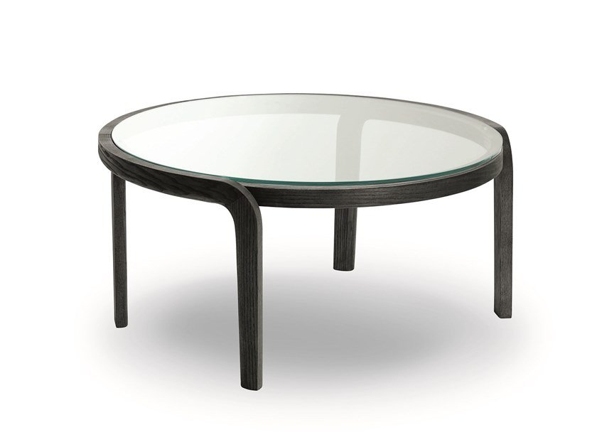 Round wood and glass coffee table GENEA COFFEE TABLE GLASS TOP by Passoni
