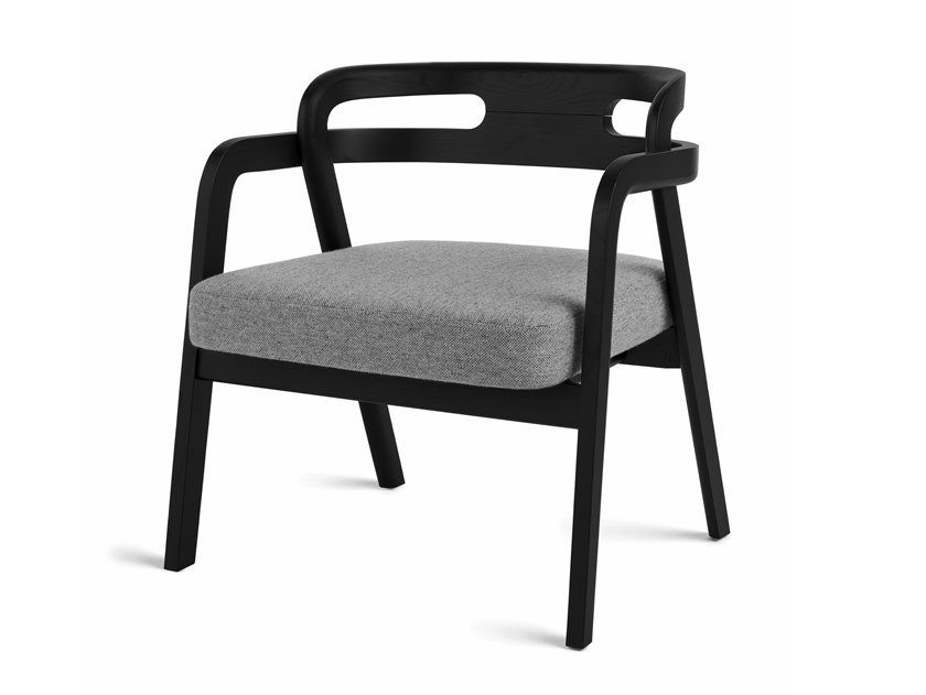 Solid wood easy chair with armrests GENEA LAZY by Passoni