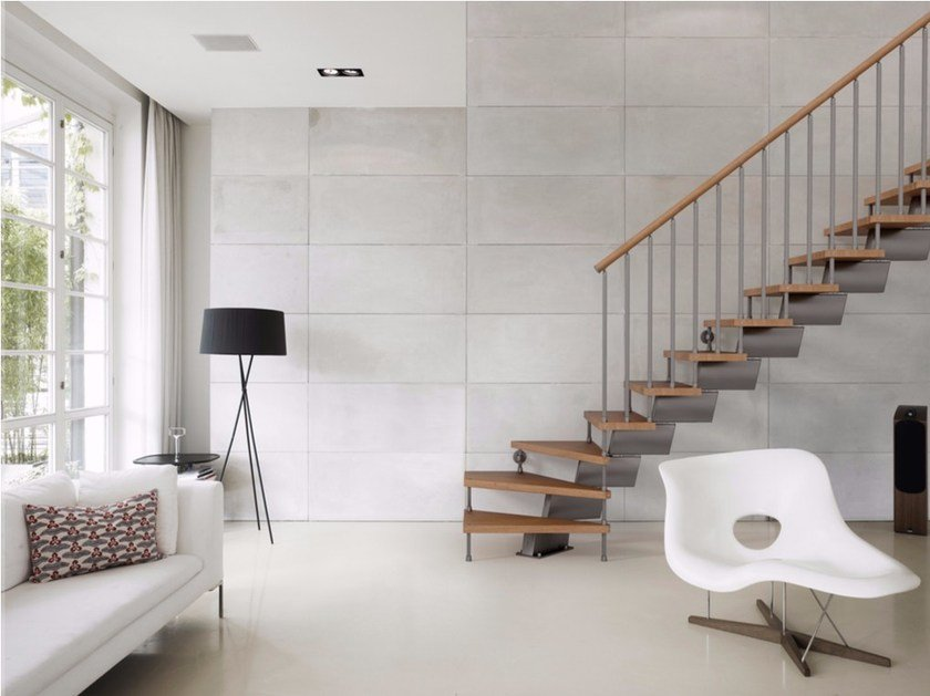 Modular stainless steel and wood Open staircase GENIUS 020 | Open staircase by Fontanot