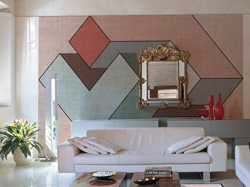 Geometric wallpaper with textile effect GENIUS by Adriani e Rossi edizioni