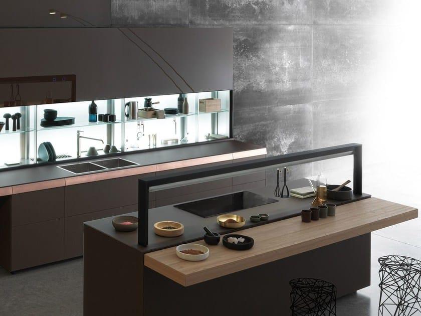Cucina in vetro opaco mocaccino con cassetto in rame GENIUS LOCI - CASSETTO IN RAME by VALCUCINE