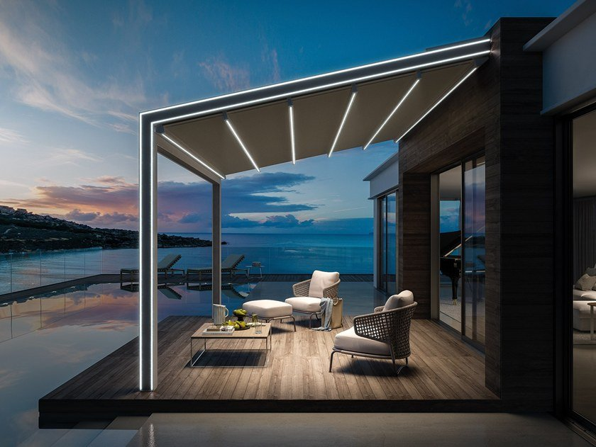 Aluminium pergola with built-in lights GENNIUS VEGA by KE Outdoor Design