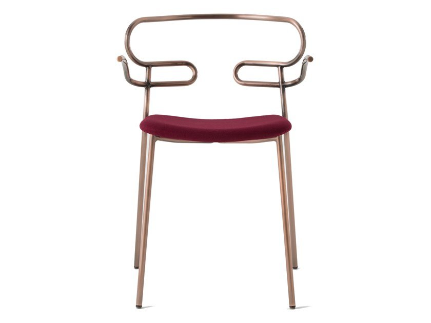Metal restaurant chair with armrests with integrated cushion GENOA | Restaurant chair by TrabA'