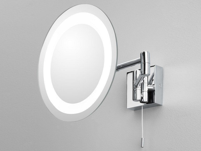 Round Wall Mounted Shaving Mirror With Integrated Lighting Genova By Astro