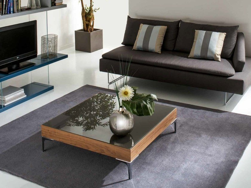 Wood and glass coffee table GENOVA by IDEAS Group
