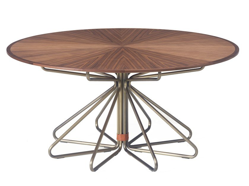 Round steel and wood dining table GEOMETRIC | Dining table by BassamFellows