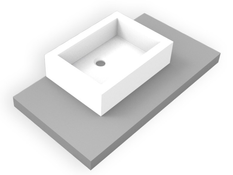 Countertop rectangular Corian® washbasin GEOMETRIC SGE | Rectangular washbasin by AMA Design
