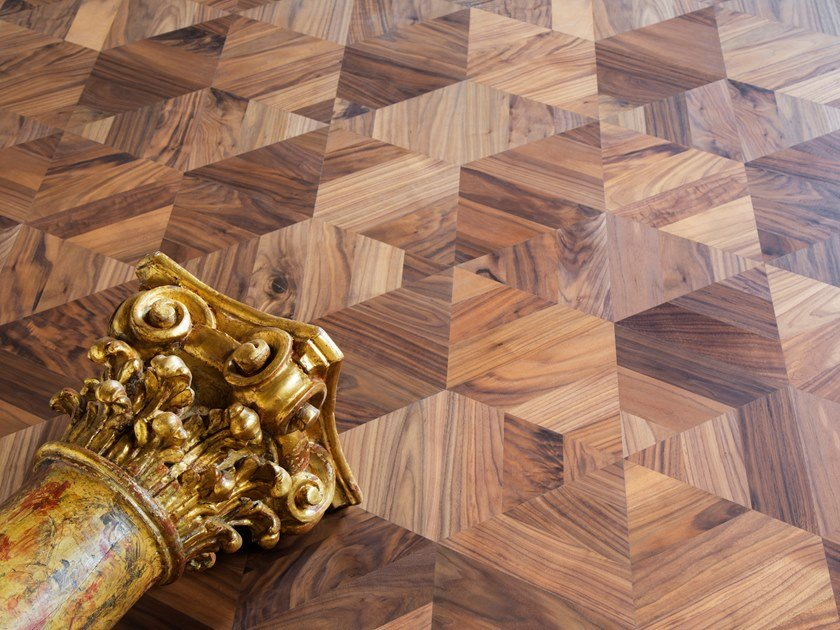 Walnut wall/floor tiles GEOMETRIE VARIABILI by Palazzo Morelli
