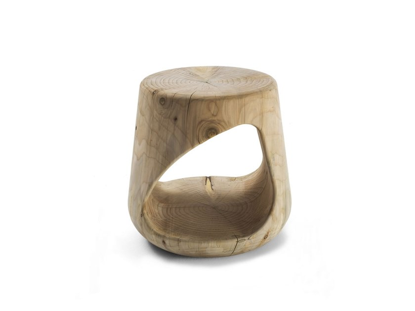 Cedarwood stool with storage space GEPPO by Riva 1920