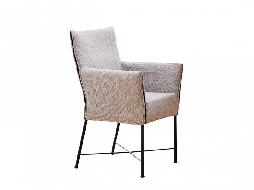 Upholstered fabric chair with armrests GERALDINE | Fabric chair by Montis