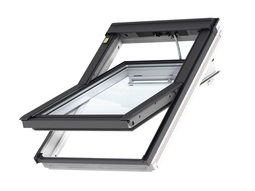 Centre-pivot Electrically operated roof window GGL INTEGRA® ELECTRIC - WHITE WOOD by Velux