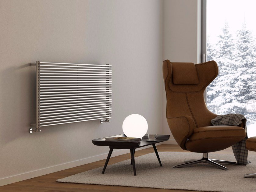 Horizontal wall-mounted brushed steel towel warmer GIADA OR | Brushed steel towel warmer by CORDIVARI