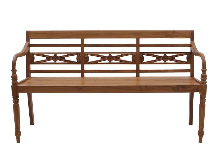 Teak garden bench with armrests GIAVA | Garden bench by Il Giardino di Legno