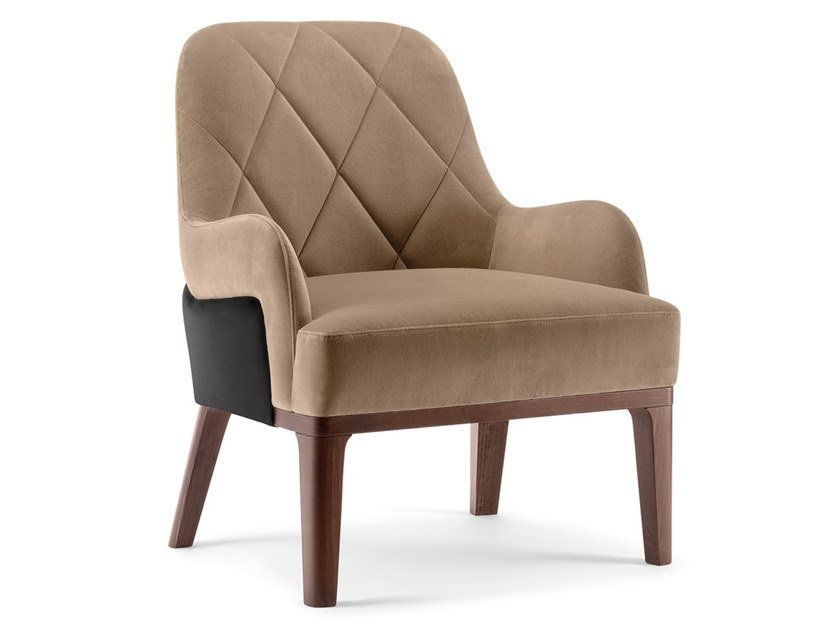Tufted fabric armchair with armrests GILL | Armchair by Tirolo