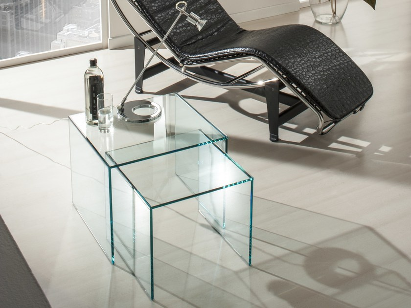 Glass coffee table for living room GINEBRA By IDEAS Group