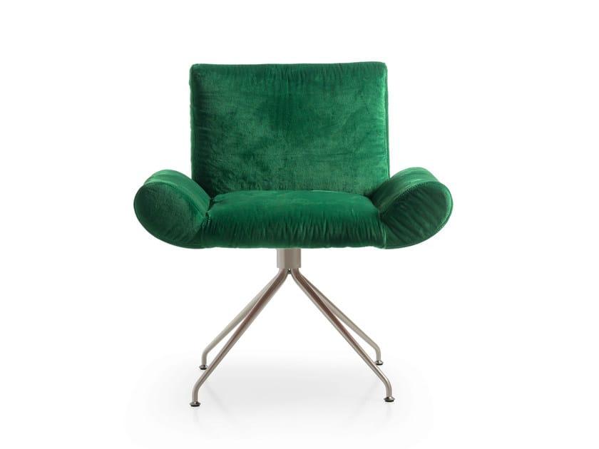 Swivel trestle-based velvet easy chair GINEVRA | Trestle-based easy chair by Quinti Sedute