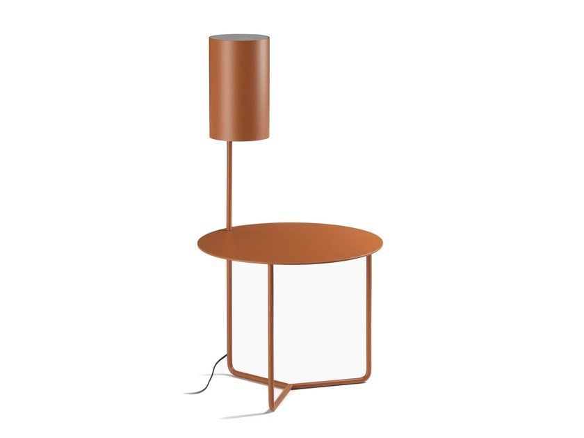 Round metal bedside table with built-in lights GIO by L'Origine