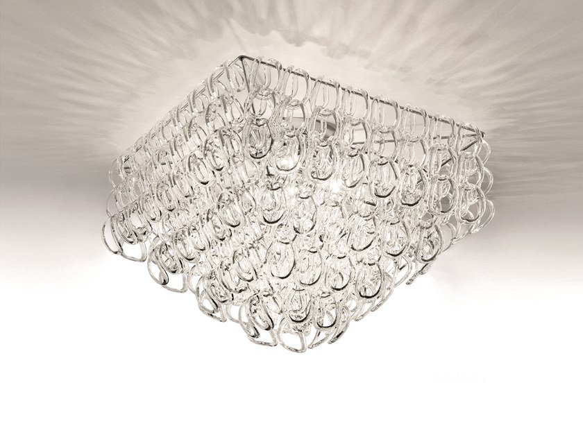 Crystal ceiling lamp GIOGALI PL 65Q by Vetreria Vistosi