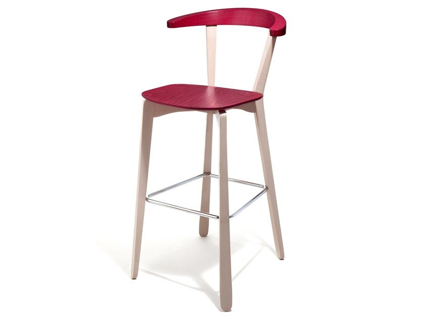 Beech stool with footrest GIORDY | Stool by Blifase