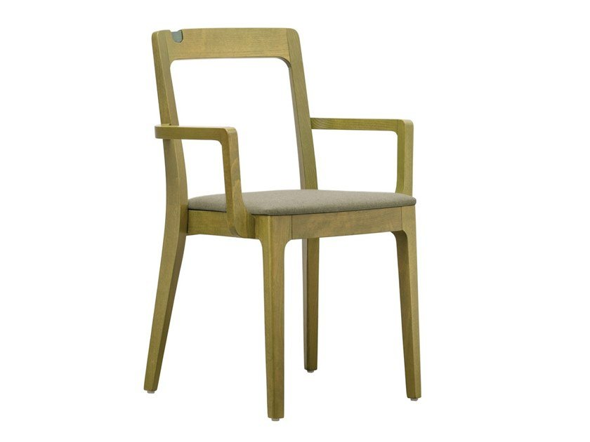 Stackable beech chair with armrests GIORGIO SB02 by New Life
