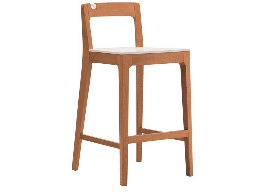 High beech stool with back GIORGIO SG01 by New Life