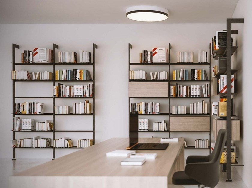 Open wall-mounted shelving unit GIOSTRA L by Damiano Latini