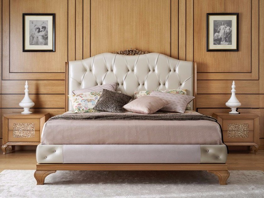 Upholstered leather bed with tufted headboard GIULIETTA E ROMEO | Bed by Arvestyle