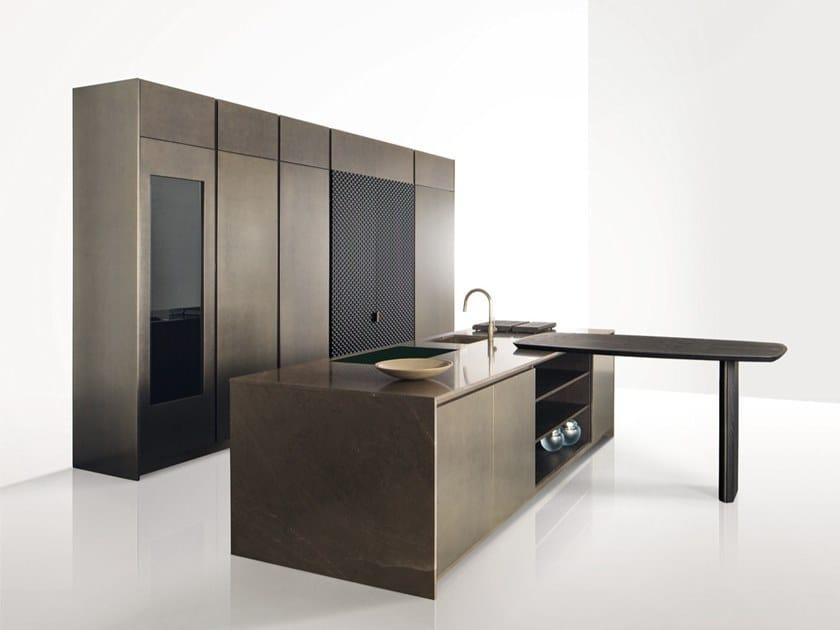 Küche aus Holz mit integrierten Griffen GK.01 by Giorgetti
