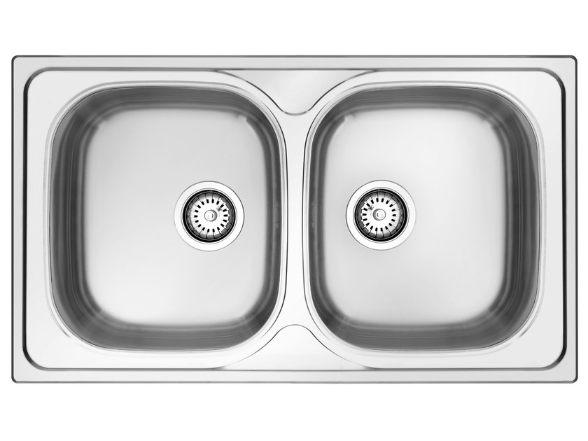2 bowl built-in stainless steel sink GL286IX | Sink by Glem Gas