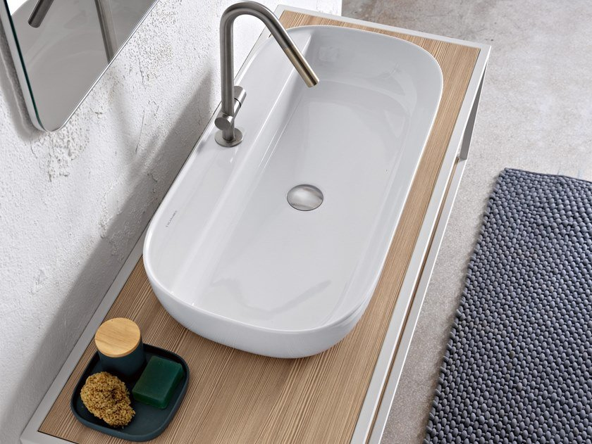 Countertop rectangular ceramic washbasin GLAM | Rectangular washbasin by Scarabeo Ceramiche