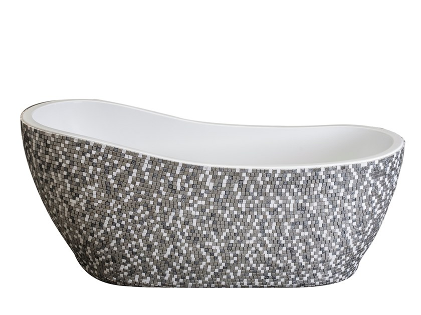 Freestanding oval bathtub GLASS & MARBLE - SILVER GREY by Saikallys