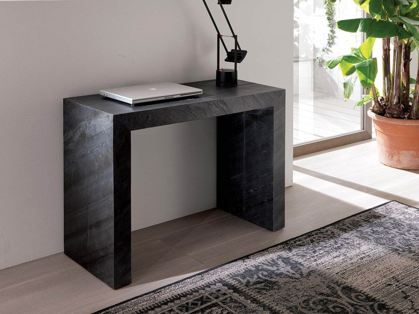 Extending rectangular natural stone console table GLASS | Natural stone console table by Ozzio Italia