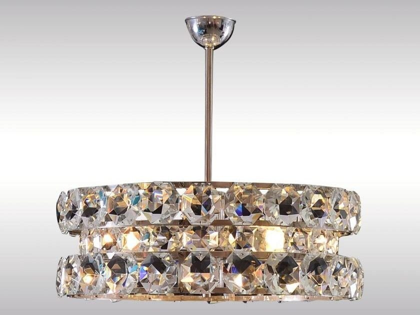Brass pendant lamp with crystals GLASS STONE CHANDELIER by Woka Lamps Vienna