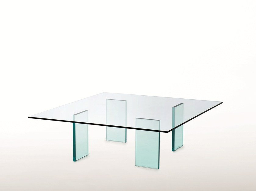 Low square crystal coffee table GLASS TABLE (1976) by Glas Italia