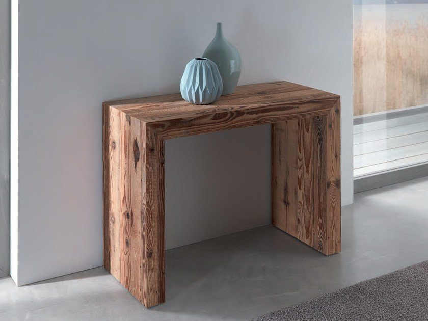 Extending rectangular wooden console table GLASS | Wooden console table by Ozzio Italia