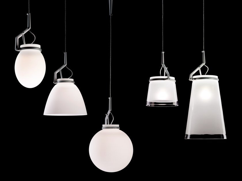 LED direct light blown glass pendant lamp GLASSGLASS by LUCEPLAN