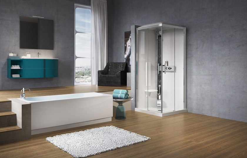 Corner multifunction crystal shower cabin with tray GLAX 3 by NOVELLINI