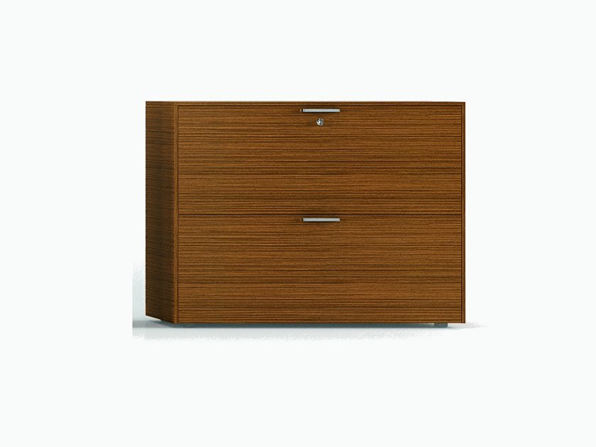 Wood veneer office drawer unit with lock GLIDER   Office drawer unit by Bralco