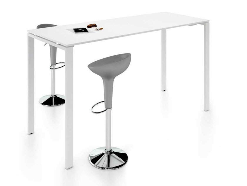 Height-adjustable rectangular melamine-faced chipboard meeting table GLIDER | Height-adjustable meeting table by Bralco
